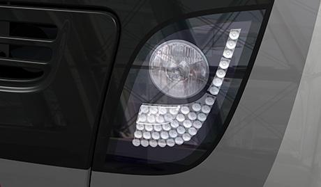 Światło czołowe, lampa złożona halogenowa i LED